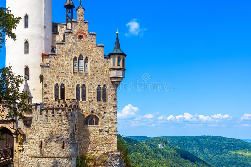 Lichtenstein Castle on blue sky background, Germany. It is a famous landmark of Baden-Wurttemberg royalty free stock image