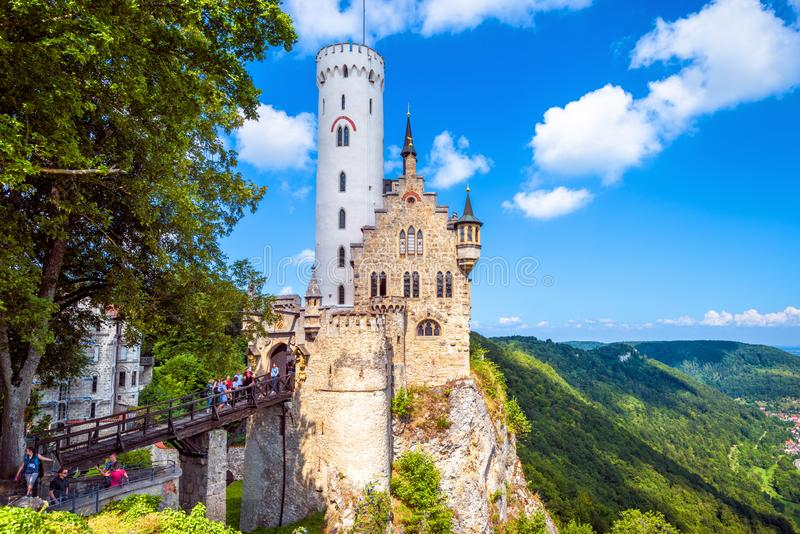 Lichtenstein Castle in summer. This beautiful castle is a landmark of Baden-Wurttemberg stock image