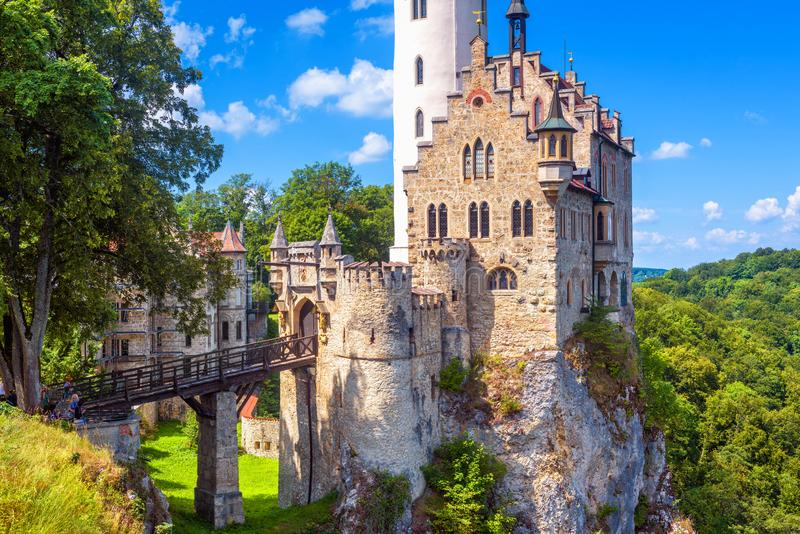 Lichtenstein Castle in summer, Germany. This beautiful castle is a landmark of Baden-Wurttemberg stock images