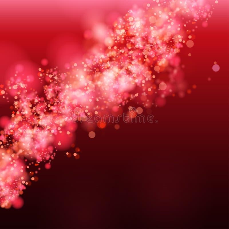 Lichter auf rotem Hintergrund bokeh Effekt. stock abbildung