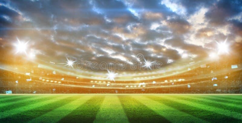 Lichter an der Nacht und am Stadion 3d übertragen, stockbilder