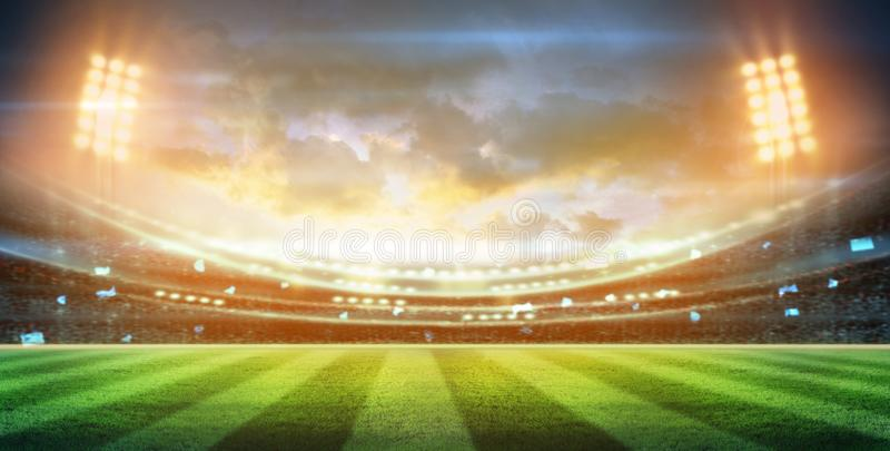 Lichter an der Nacht und am Stadion 3d übertragen, lizenzfreies stockfoto