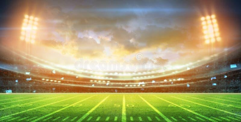 Lichter an der Nacht und am Stadion 3d übertragen, lizenzfreie stockfotos