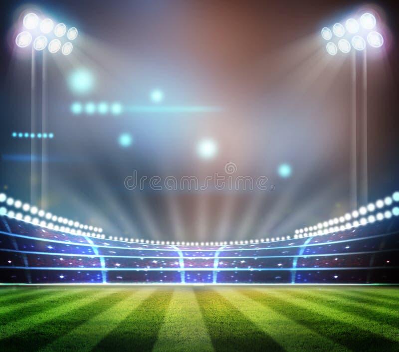 Lichter an der Nacht und am Stadion 3d übertragen, stockfoto