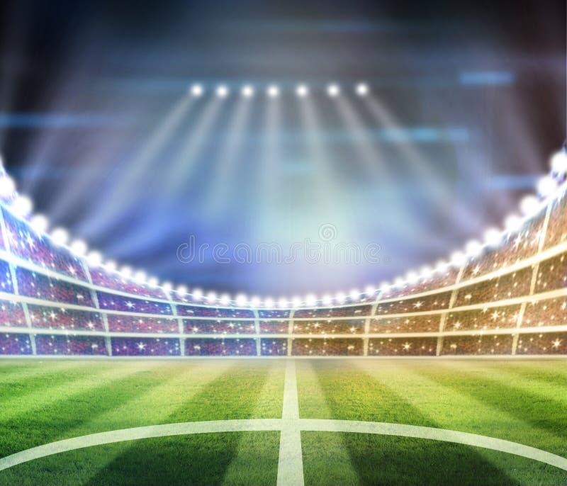 Lichter an der Nacht und am Stadion 3d übertragen, stockbild