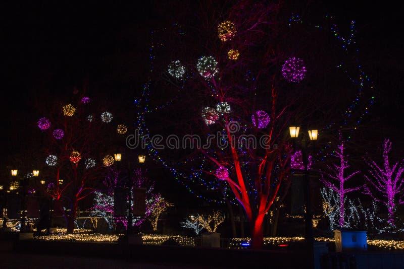 Lichter zeigen an den Einkaufszentren während des Zeitraums des neuen Jahres in Peking, China lizenzfreie stockfotos