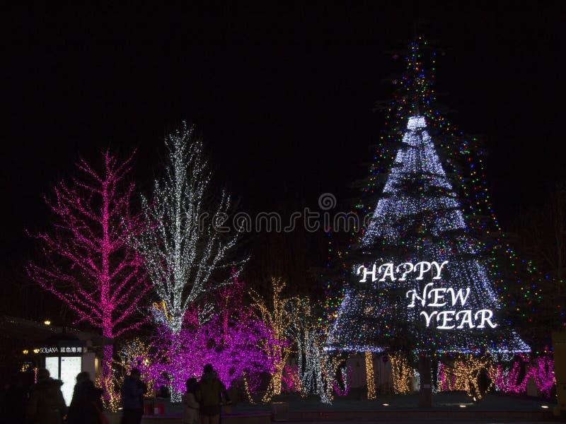 Lichter zeigen an den Einkaufszentren während des Zeitraums des neuen Jahres in Peking, China stockbilder