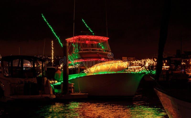 Lichterkette am Balboa-Insel-Hafen stockbild