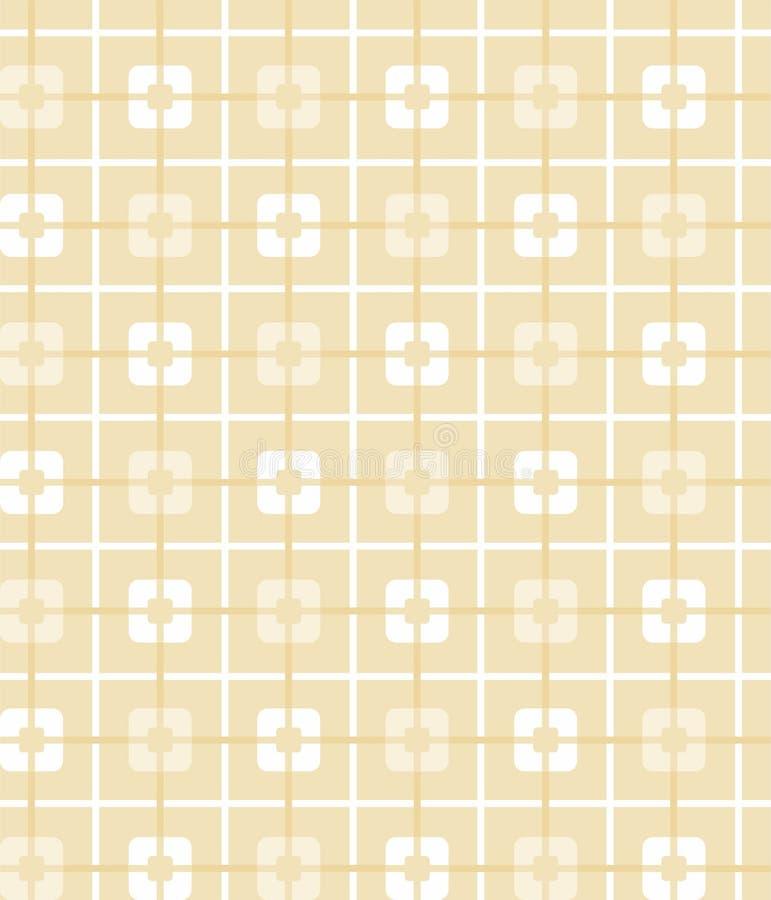Lichtgeel, oker, geometrisch, naadloos patroon, vierkanten, achtergrond royalty-vrije illustratie