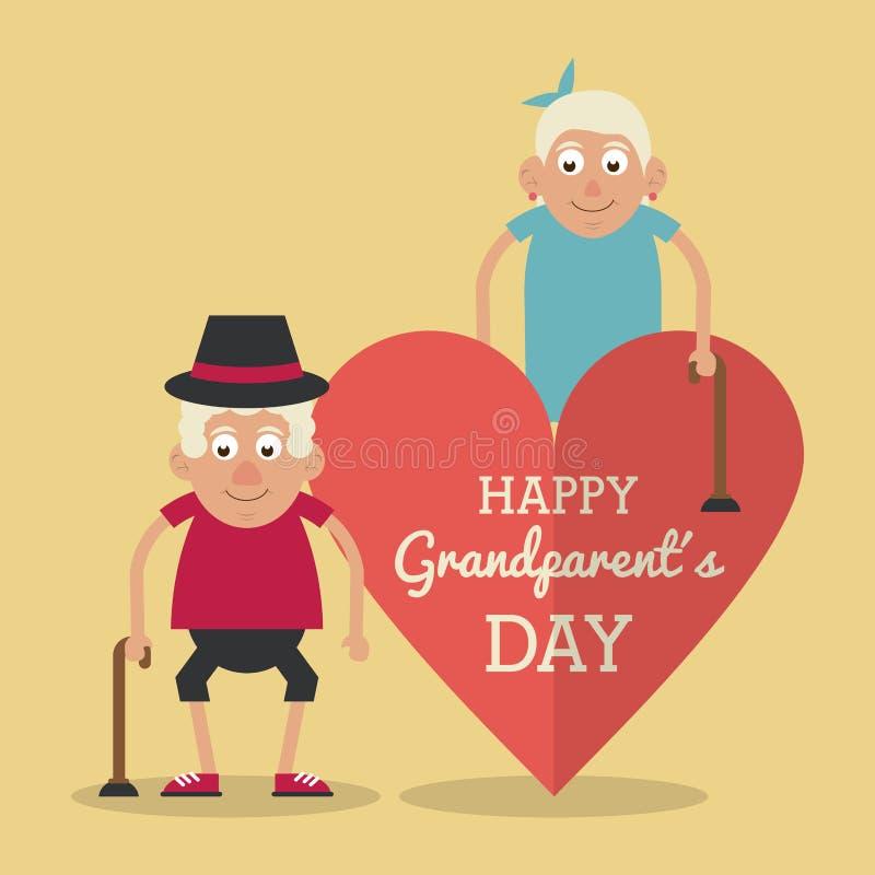 Lichtgele kleurenkaart en hartachtergrond met dag van tekst de gelukkige grootouders met bejaard paar met wandelstokken vector illustratie