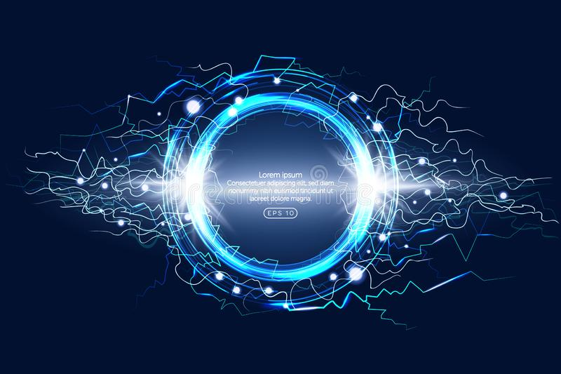 Lichtgevend elektrisch atmosferisch het fenomeen realistisch beeld van de cirkelbliksem op de donkere blauwe decoratieve achtergr vector illustratie