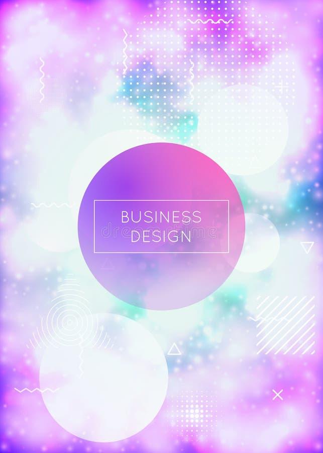 Lichtgevende achtergrond met vloeibare neonvormen Purpere Vloeistof Fluorescente dekking met bauhausgradiënt stock illustratie
