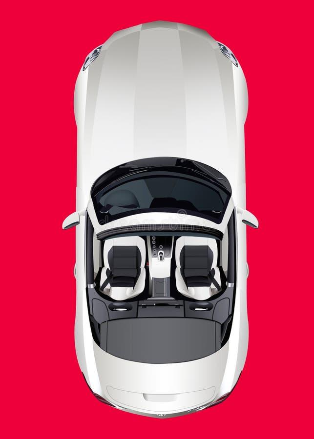 Lichtgrijze convertibele, hoogste mening, over rode achtergrond Geïsoleerd w royalty-vrije illustratie