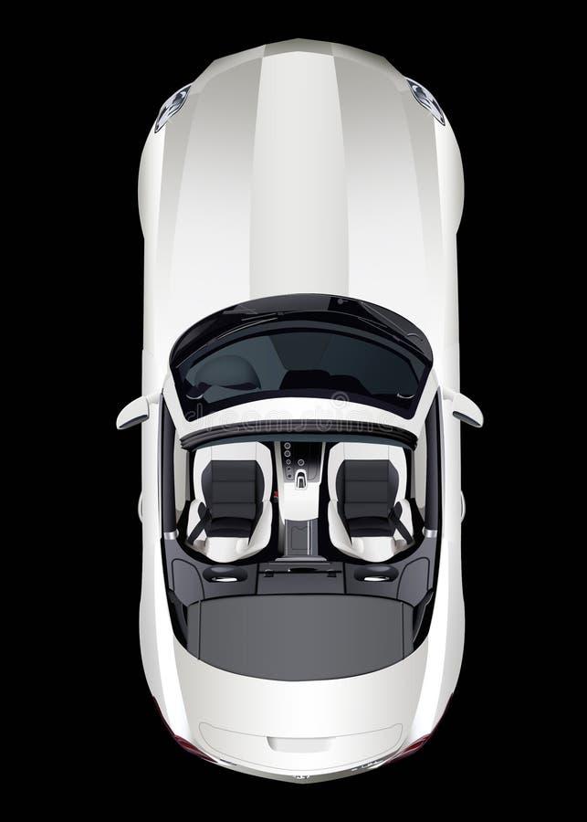 Lichtgrijze convertibele, hoogste mening, over zwarte achtergrond Geïsoleerde stock illustratie