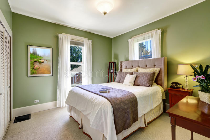Lichtgroen elegant slaapkamerbinnenland royalty-vrije stock fotografie