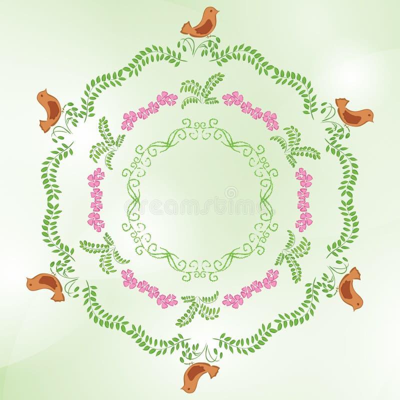Lichtgroene achtergrond met bloemenornamenten royalty-vrije illustratie