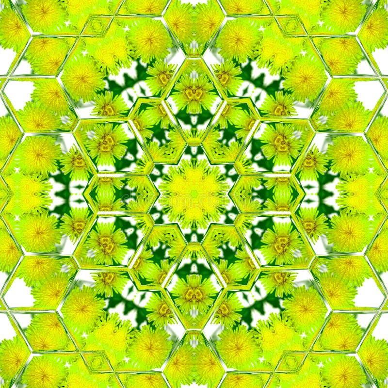 Lichtgroene hexagonale mandala, beeld en kleuren van de lente royalty-vrije illustratie