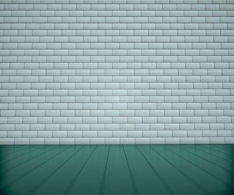 Lichtinnenraum mit Backsteinmauer stock abbildung