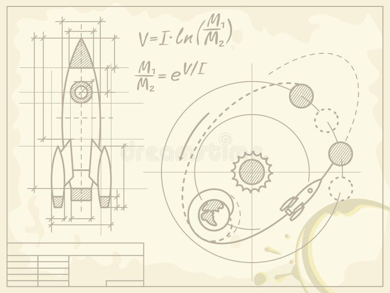 Lichtpause des Raumschiffes und seines Flugweges vektor abbildung