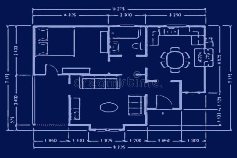 Lichtpause - Hausplan lizenzfreie stockfotos