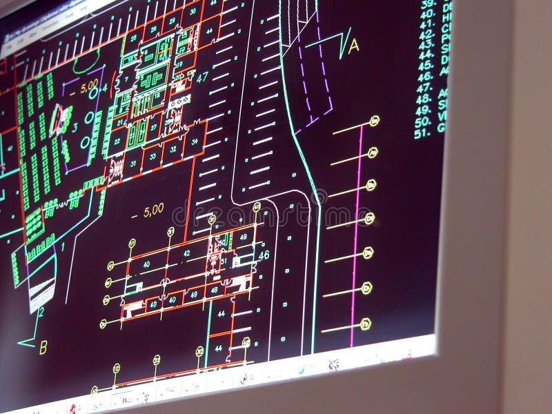 Lichtpausen auf Bildschirm stockbilder