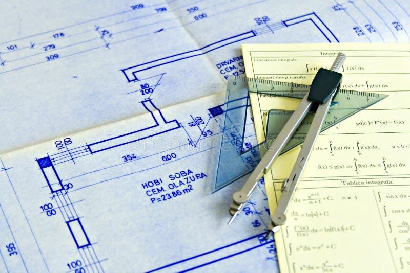 Lichtpausen und Diagramme stockbild