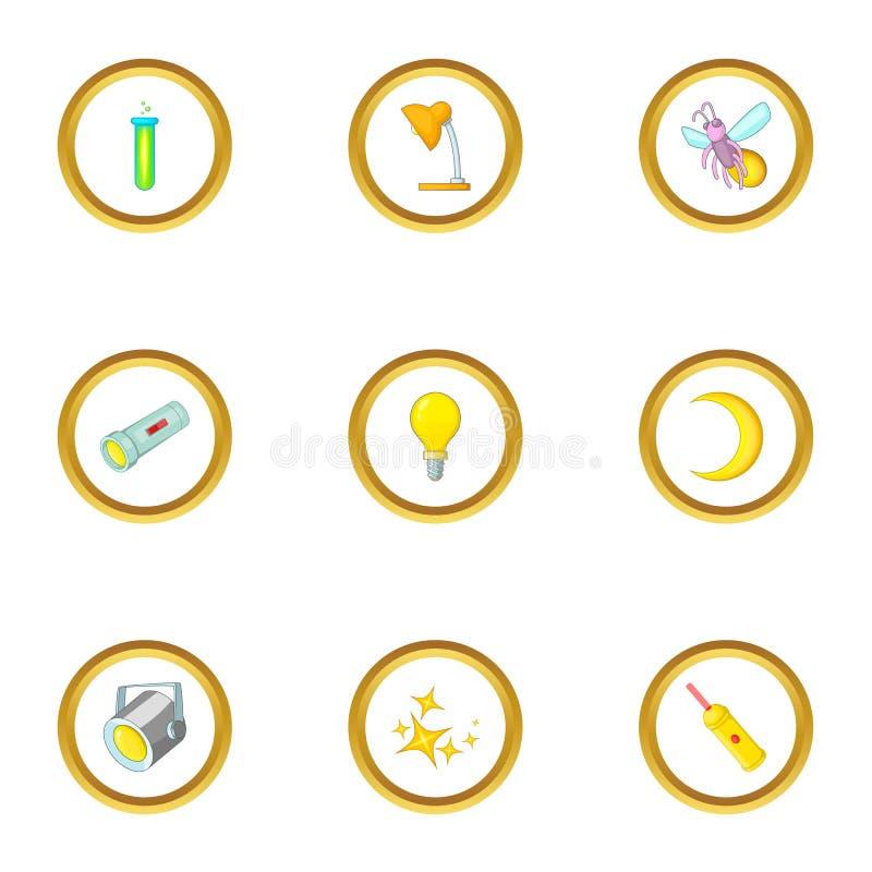 Lichtquellen Ikonen stellten, Karikaturart ein stock abbildung