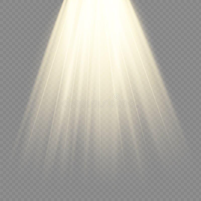 Lichtquellen, Konzertbeleuchtung, Scheinwerfer Konzertscheinwerfer mit Strahl, belichtete Scheinwerfer stock abbildung
