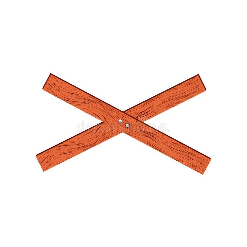 Lichtrode houten barrière in dwarsvorm stock foto