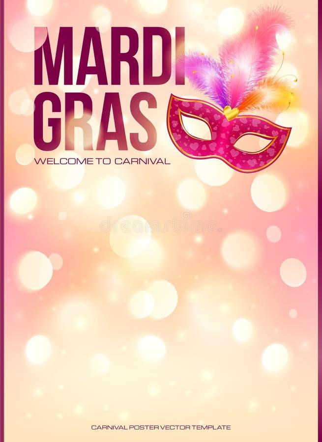 Lichtrose Mardi Gras-affichemalplaatje met bokeh vector illustratie