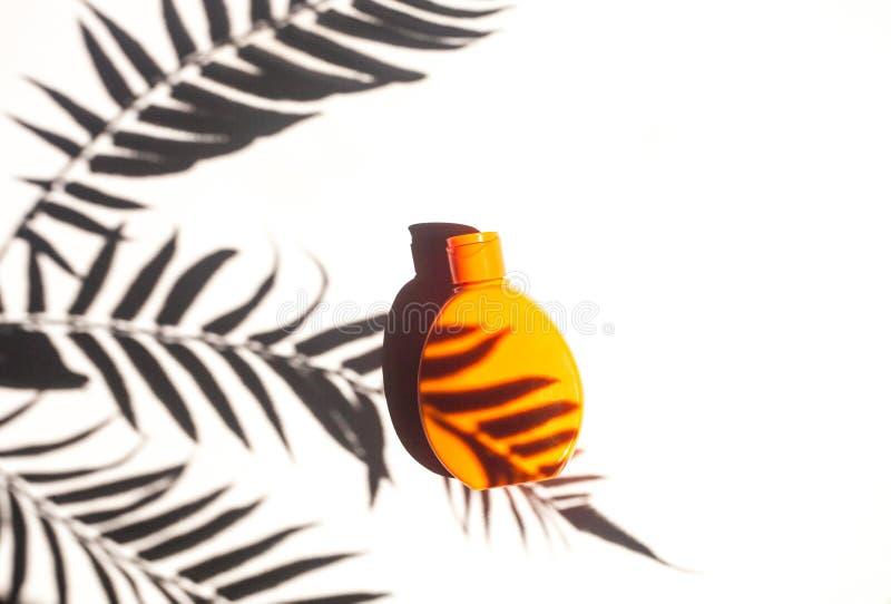 Lichtschutzcreme, legen flach mit tropischem Palmblattschatten lizenzfreie stockfotos