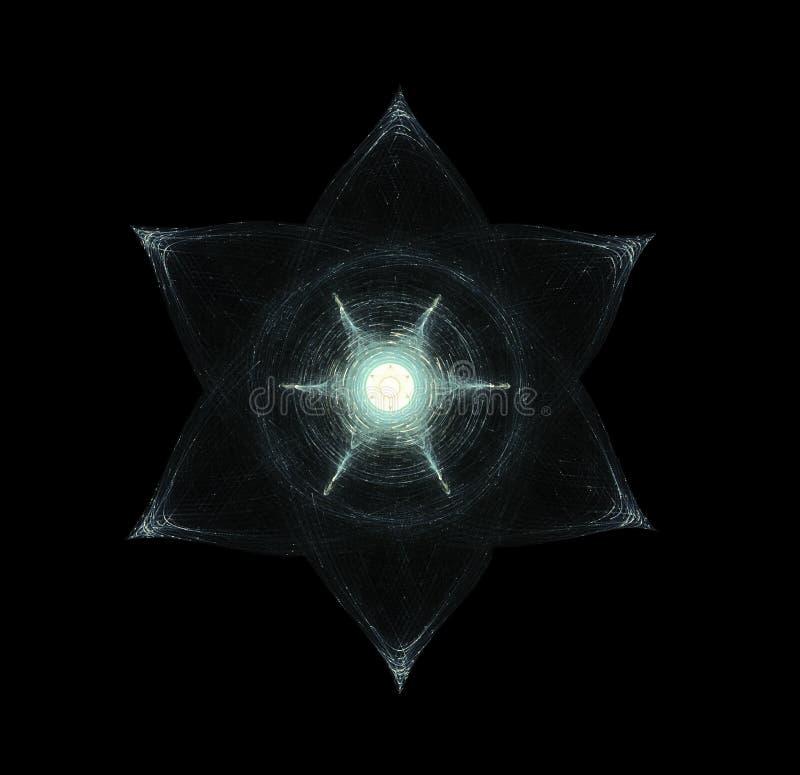 Lichtstrahlen, die herum glühenden Hexagram bewegen Esoterica, heiliges GE vektor abbildung