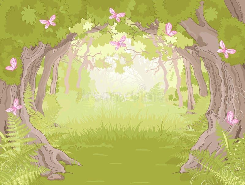 Lichtung im magischen Wald stock abbildung