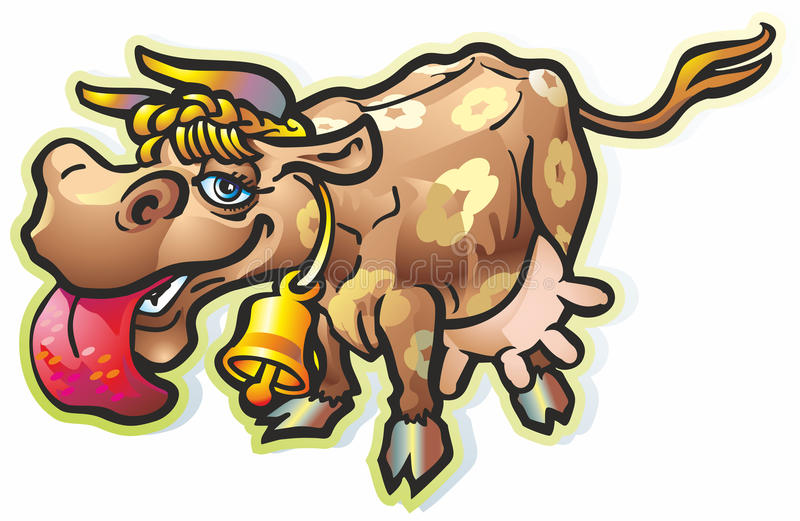 Download Licking cow stock illustration. Image of bell, horns - 28736064