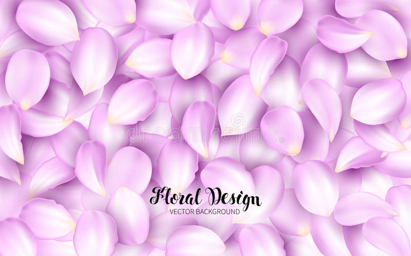 Licking the pink petals of a flower on a pile. Effect Realistic Design Elements. Vector Illustration. Floral background.  stock illustration