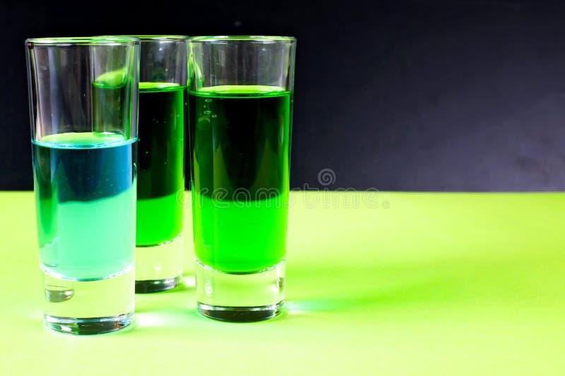 Licor azul e verde foto de stock royalty free