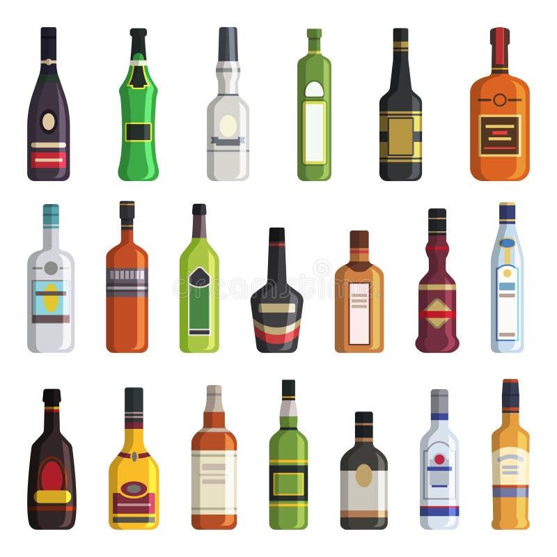 Licor, whisky, vodka y otras botellas de bebidas alcohólicas Imágenes del vector en estilo plano ilustración del vector