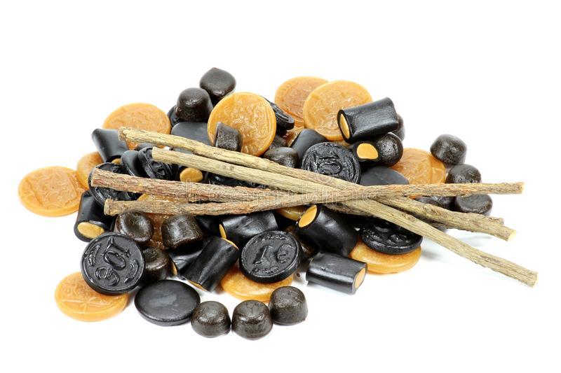 Licorice candies stock photos