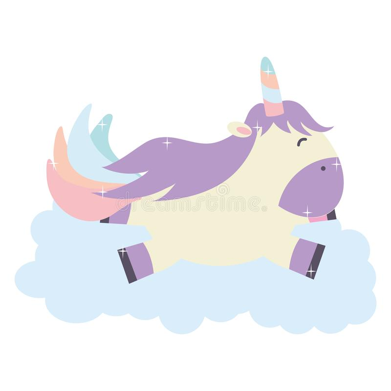 Licorne adorable mignonne flottant dans le caractère féerique de nuage illustration libre de droits
