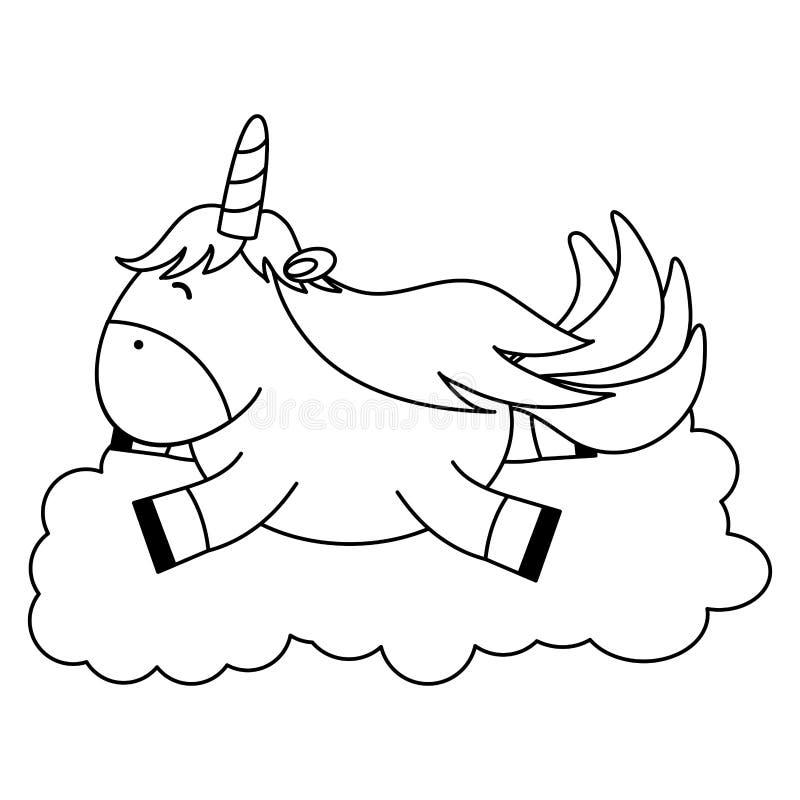 Licorne adorable mignonne flottant dans le caractère féerique de nuage illustration stock