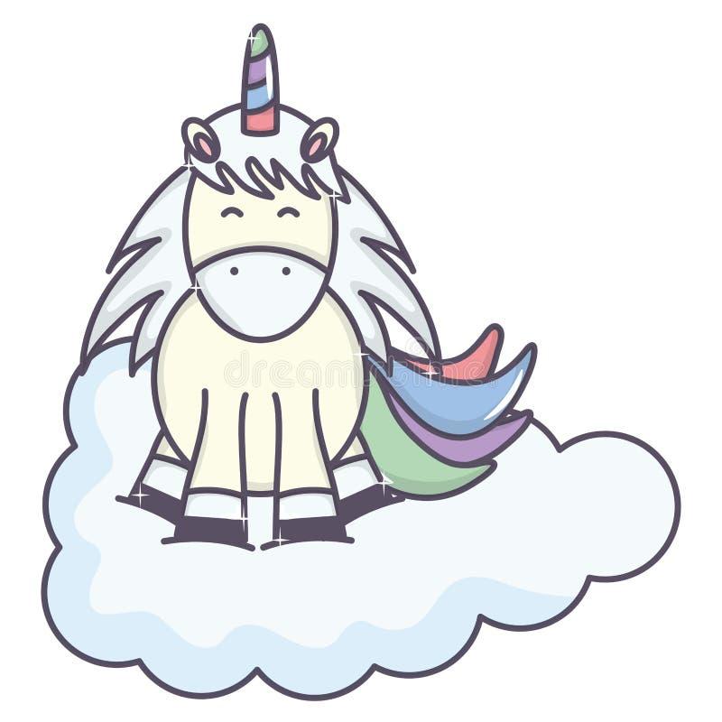 Licorne adorable mignonne flottant dans le caractère féerique de nuage illustration de vecteur