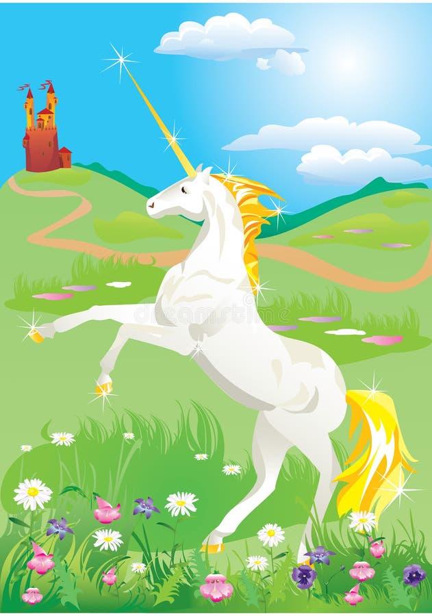 Licorne blanche s'élevant vers le haut sur ses pattes de derrière illustration libre de droits