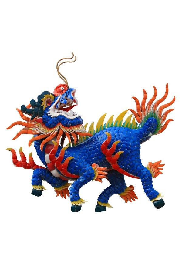 Licorne chinoise de tête de dragon à l'arrière-plan blanc d'isolat image stock