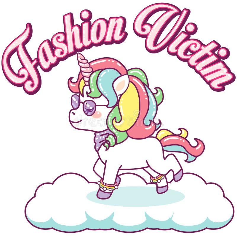 Licorne colorée fraîche, victime de mode illustration libre de droits