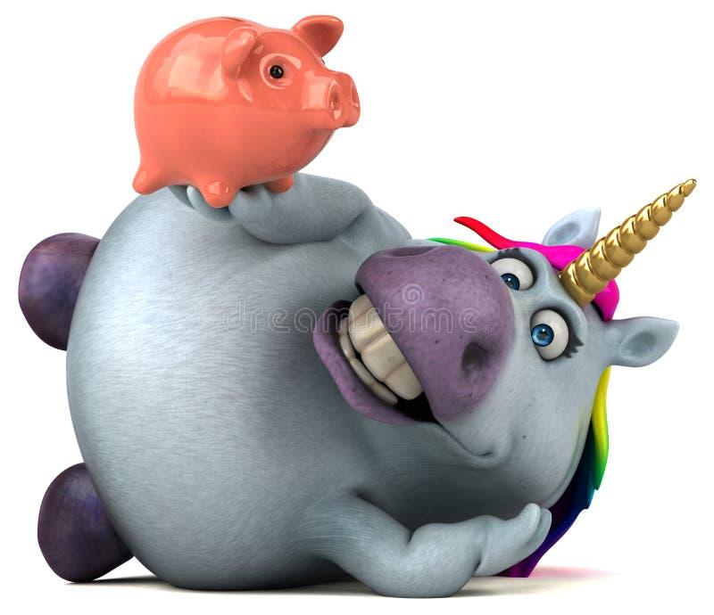 Licorne d'amusement - illustration 3D illustration stock