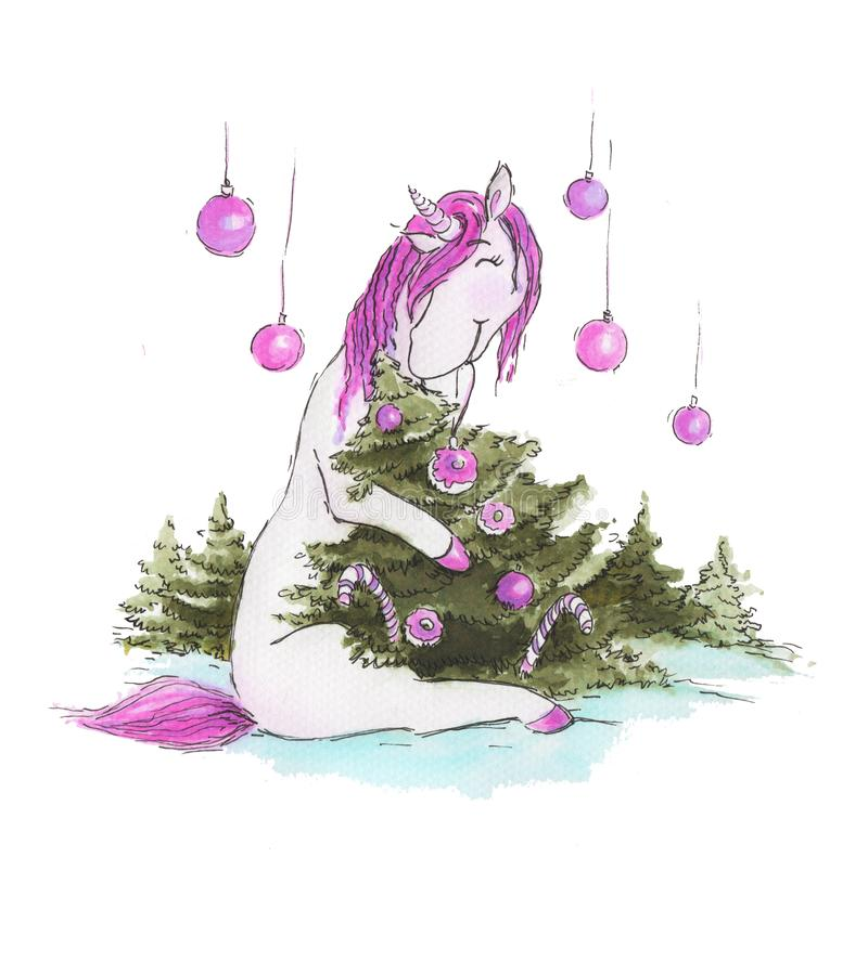 Licorne d'aquarelle près de l'arbre de Noël illustration libre de droits