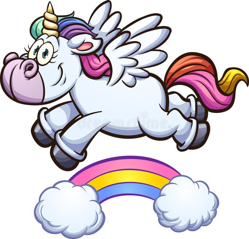 Licorne d'arc-en-ciel volant au-dessus de l'arc-en-ciel illustration libre de droits