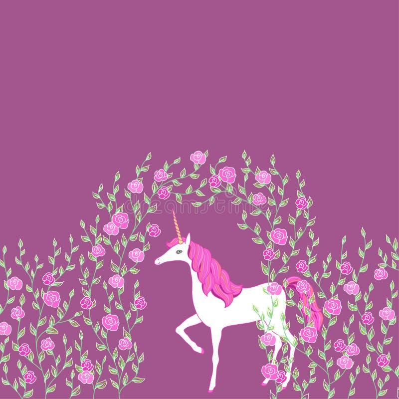 Licorne dans un jardin illustration de vecteur