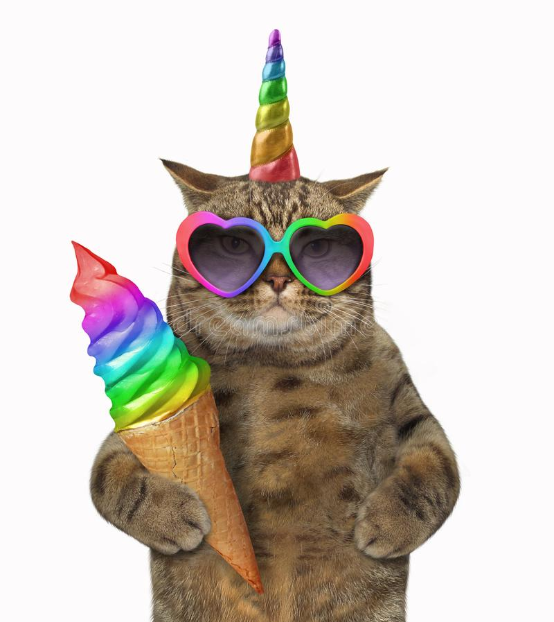 Licorne de chat avec la crème glacée  photographie stock libre de droits