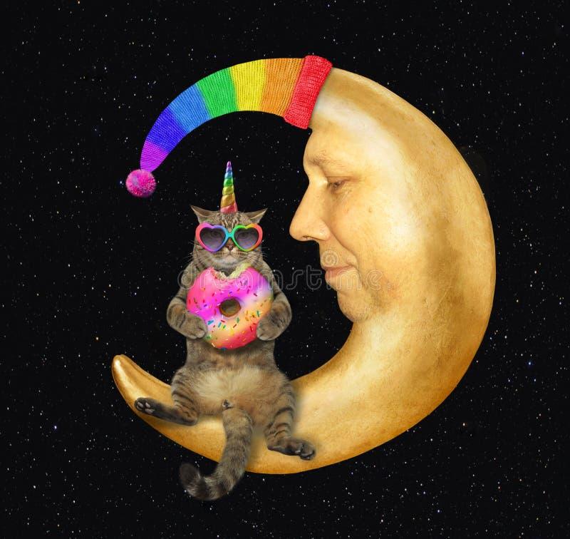 Licorne de chat sur la lune dans un chapeau 2 photo stock
